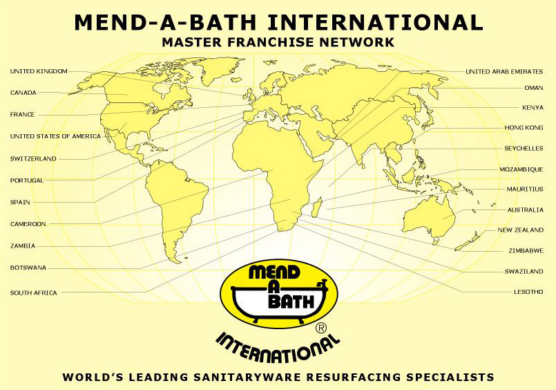 Mend-a-Bath International franchise map